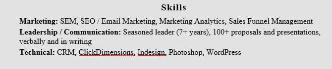 Resume Skills Section Example