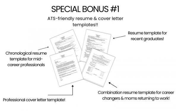 Find a job fast starter guide for moms bonus one